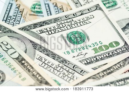 Close up image of money,$100 & $20 bills