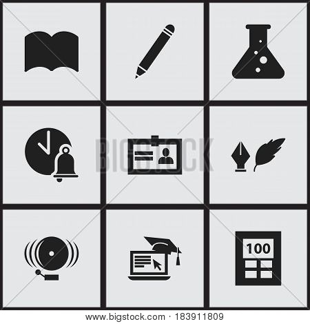 Set Of 9 Editable Graduation Icons. Includes Symbols Such As Chemistry, Dictionary, Ring And More. Can Be Used For Web, Mobile, UI And Infographic Design.