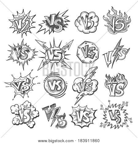 Versus sketsh labels isolated on white background. Doodle pop art vs letters for confrontation duel concepts