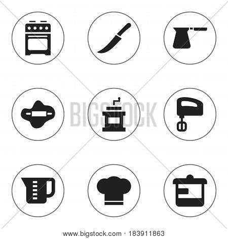 Set Of 9 Editable Cook Icons. Includes Symbols Such As Cook Cap, Stove, Coffee Pot And More. Can Be Used For Web, Mobile, UI And Infographic Design.