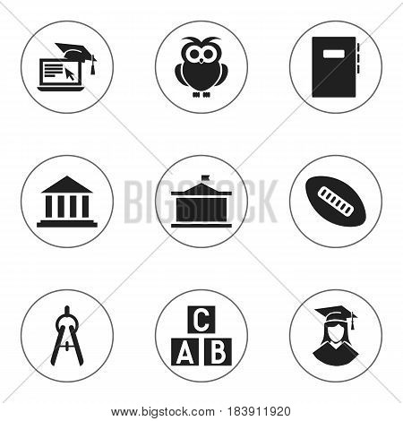 Set Of 9 Editable University Icons. Includes Symbols Such As Univercity, Distance Learning, Museum And More. Can Be Used For Web, Mobile, UI And Infographic Design.