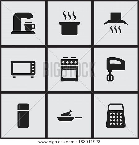 Set Of 9 Editable Cooking Icons. Includes Symbols Such As Soup Pot, Shredder, Kitchen Hood And More. Can Be Used For Web, Mobile, UI And Infographic Design.