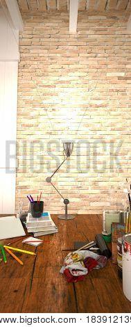 Vertical Brick Wall, Art Supplies on Desk - 4K HD 300 DPI