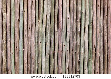Colorful timber logs fence with space for text. Log colors include brown green and pink.