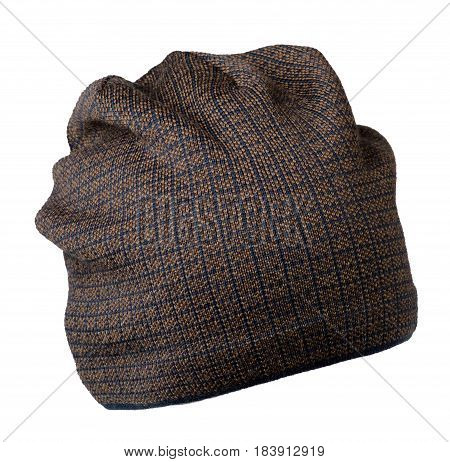 Hat Isolated On White Background .knitted Hat .yellow Hat