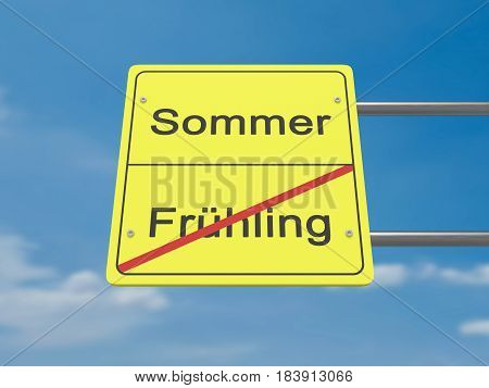 Season Change Concept Road Sign: Spring To Summer In German Language 3d illustration
