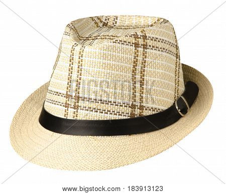 Hat With A Brim .hat Isolated On White Background.biege Hat