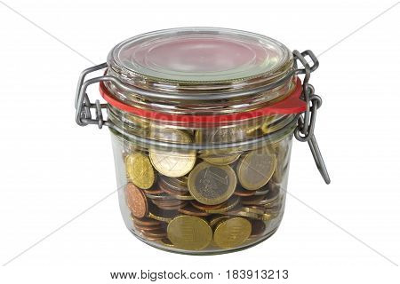 Jar of glass with money coins isolated on white background