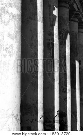 The columns of the building photographed in close-up black and white photography