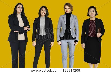 Businesswoman lifestyle gesture confidence profession standing on background