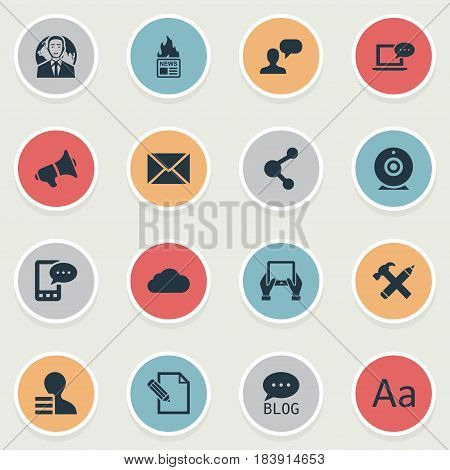 Vector Illustration Set Of Simple Newspaper Icons. Elements Notepad, Gazette, Cedilla And Other Synonyms Web, Megaphone And Site.