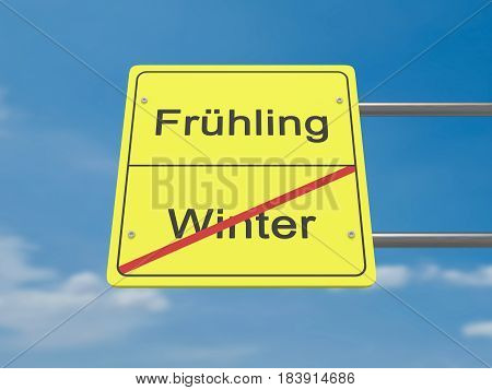 Season Change Concept Road Sign: Winter To Spring In German Language 3d illustration