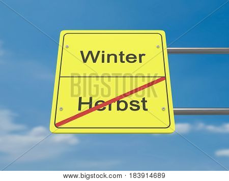 Season Change Concept Road Sign: Autumn To Winter In German Language 3d illustration