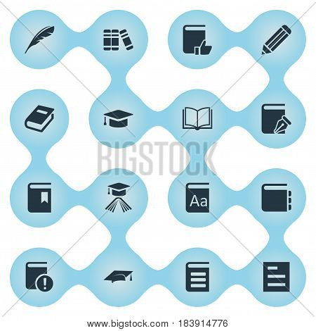 Vector Illustration Set Of Simple Education Icons. Elements Academic Cap, Pen, Academic Cap And Other Synonyms Literature, Academic And Graduation.