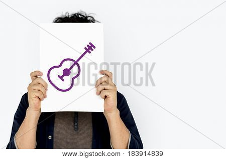 Guitar music icon graphic with people studio shoot