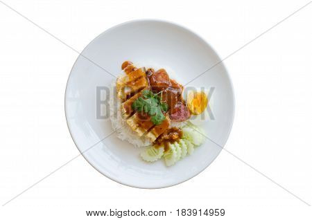 Rice crispy pork in sauce with rice isolated on white background