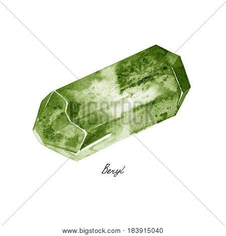 Watercolor Green Beryl rough gem tumblestones isolated on a white