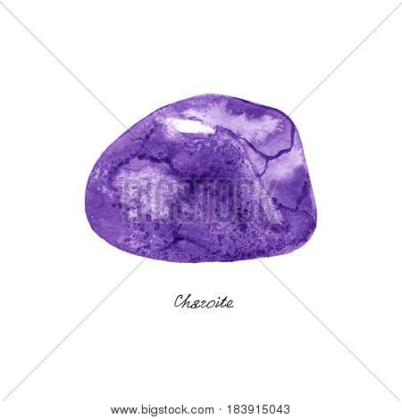 Watercolor Charoite mineral - violet gemstone macro isolated on white background