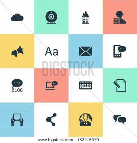 Vector Illustration Set Of Simple Blogging Icons. Elements Post, Loudspeaker, Gazette And Other Synonyms Relation, Earnings And Hot.