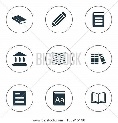 Vector Illustration Set Of Simple Books Icons. Elements Book Page, Pen, Library And Other Synonyms School, Writing And List.