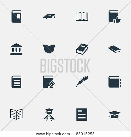 Vector Illustration Set Of Simple Books Icons. Elements Plume, Blank Notebook, Library And Other Synonyms Quill, Write And List.