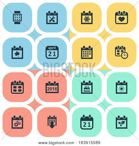Vector Illustration Set Of Simple Plan Icons. Elements Plant, Date Block, Renovation Tools And Other Synonyms Winter, Day And Watch.
