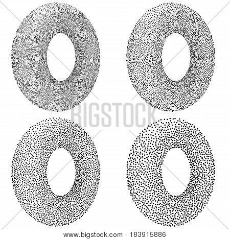 Dotwork Donut Banner Set. Halftone Style Engraving Gradient Illustration. Abstract Vector Background.
