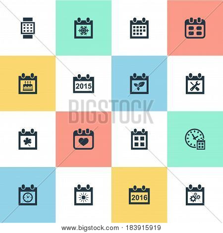 Vector Illustration Set Of Simple Time Icons. Elements Summer Calendar, Plant, Almanac And Other Synonyms Annual, Date And Special.