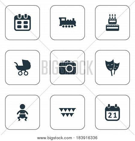 Vector Illustration Set Of Simple Celebration Icons. Elements Camera, Confectionery, Special Day And Other Synonyms Flags, Date And Mask.