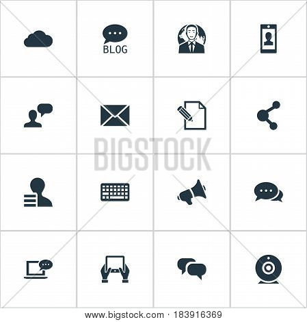 Vector Illustration Set Of Simple Newspaper Icons. Elements Share, Man Considering, Loudspeaker And Other Synonyms Discussion, Keypad And Site.