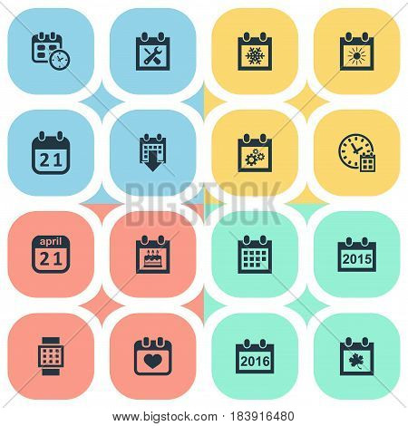 Vector Illustration Set Of Simple Plan Icons. Elements History, Intelligent Hour, Deadline And Other Synonyms Heart, Wheel And Watch.