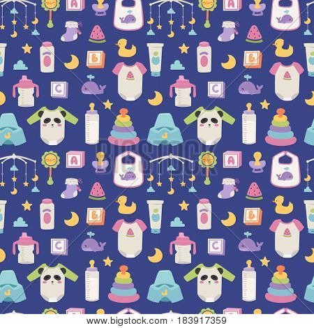 Baby icons set vector cartoon family toys sign seamless pattern. Baby symbols design cute boy and girl toys set childhood art.