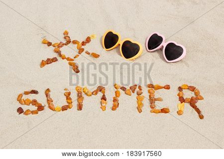 Shape Of Sun And Word Summer With Sunglasses On Sand At Beach, Sun Protection, Summer Time