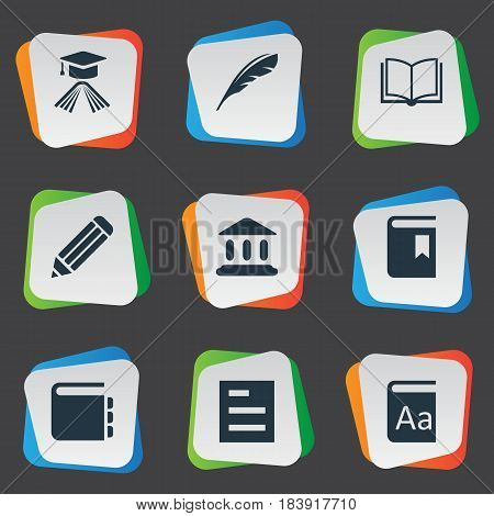 Vector Illustration Set Of Simple Books Icons. Elements Blank Notebook, Book Cover, Alphabet And Other Synonyms Dictionary, Graduation And Hat.