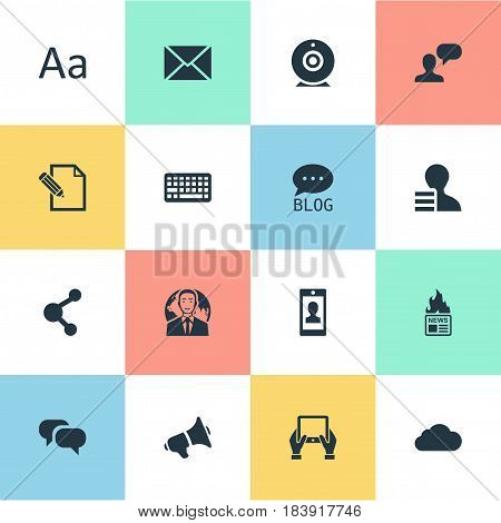 Vector Illustration Set Of Simple Newspaper Icons. Elements Document, International Businessman, Keypad And Other Synonyms Smartphone, Web And Man.