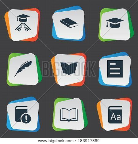 Vector Illustration Set Of Simple Books Icons. Elements Plume, Blank Notebook, Tasklist And Other Synonyms Dictionary, Hat And Note.