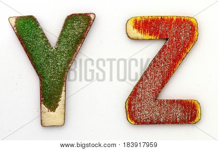 Y Z wooden letters