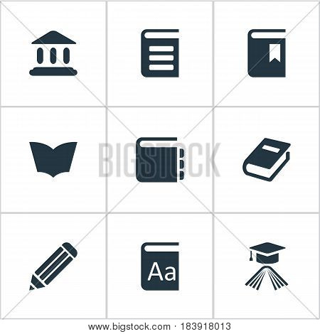 Vector Illustration Set Of Simple Knowledge Icons. Elements Alphabet, Encyclopedia, Graduation Hat And Other Synonyms Journal, Alphabet And Pen.