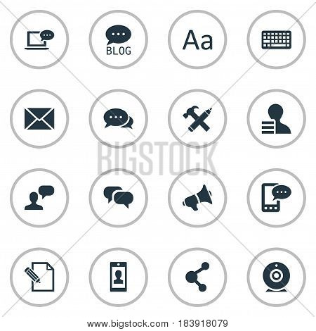 Vector Illustration Set Of Simple User Icons. Elements Repair, E-Letter, Broadcast And Other Synonyms Blog, Repair And Gossip.