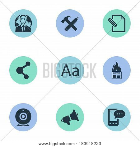Vector Illustration Set Of Simple Blogging Icons. Elements Gazette, Cedilla, Document And Other Synonyms Camera, Alphabet And Pencil.