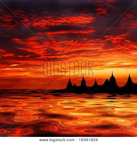fata morgana of asian temples at sunset on the waterfront or oasis