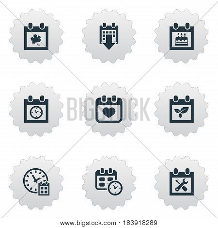 Vector Illustration Set Of Simple Plan Icons. Elements Plant, Deadline, Special Day And Other Synonyms Calendar, Time And History.
