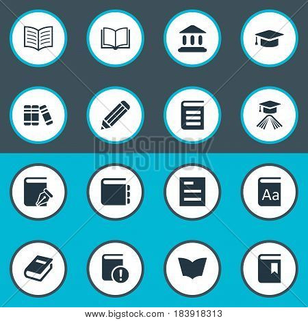 Vector Illustration Set Of Simple Reading Icons. Elements Journal, Bookshelf, Pen And Other Synonyms Document, Sketchbook And Dictionary.