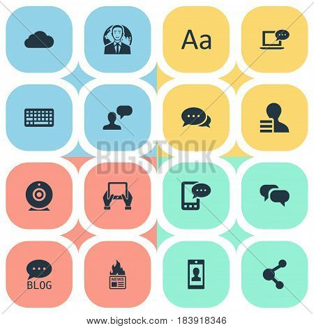 Vector Illustration Set Of Simple Newspaper Icons. Elements Man Considering, Argument, Share And Other Synonyms Phone, E-Letter And Relation.