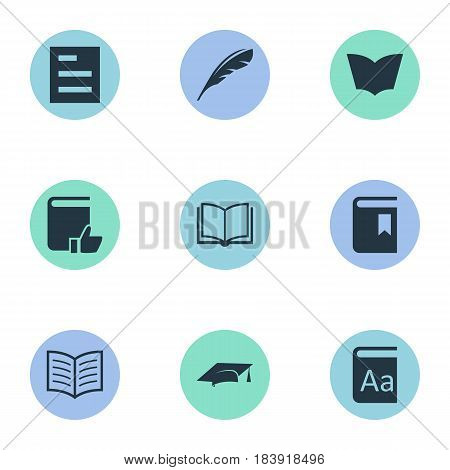 Vector Illustration Set Of Simple Education Icons. Elements Tasklist, Reading, Book Page And Other Synonyms Page, Cap And Reading.