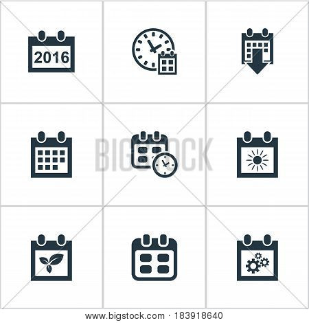 Vector Illustration Set Of Simple Plan Icons. Elements Event, Date Block, Date And Other Synonyms Plant, Agenda And Sun.