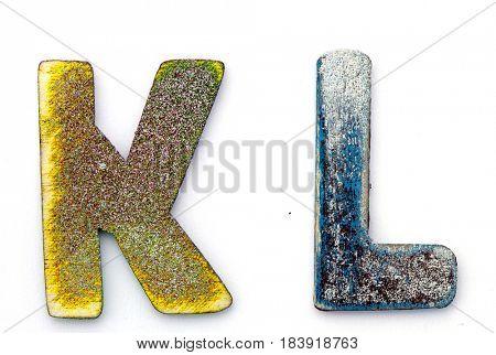 K L wooden letters