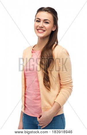 fashion, portrait and people concept - happy smiling young woman in cardigan