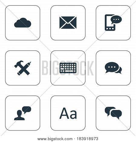 Vector Illustration Set Of Simple User Icons. Elements Keypad, Repair, Man Considering And Other Synonyms E-Letter, Discussion And Repair.