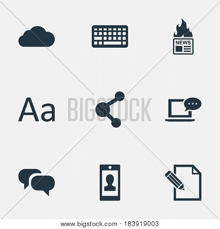 Vector Illustration Set Of Simple User Icons. Elements Keypad, Document, Laptop And Other Synonyms Relation, Writing And Keypad.